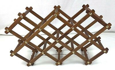 Wooden Brown Vintage Accordion Expandable Folding 10 Bottle Wine Rack With Chain