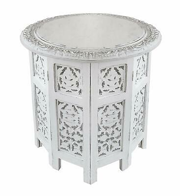 Jaipur Solid Wood Hand Carved Table Furniture, Antique White - New