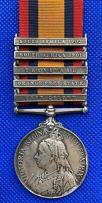 Boer War Queens medal with 5 clasps - South African Constabulary