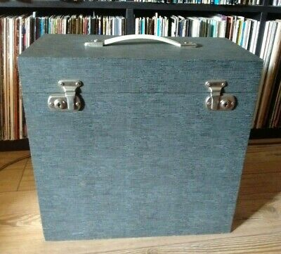 "Vintage 12"" Vinyl Record Storage Box/carrying Case Grey/cream Ex Condition"