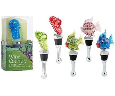Blown Glass Sea Creatures Bottle Stopper -  Set Of 6 - Bs903