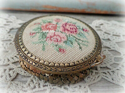 antique gold mesh powder compact embroidered lid 1900s Victorian vanity compacts