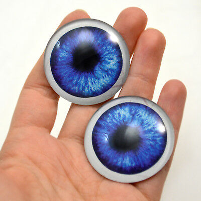 Art Sculptures Jewelry Fursiut Pair of 40mm Big Blue Anime Doll Glass Eyes Set