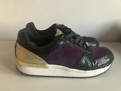 Ted Baker KAPAAR Purple Suede & Black Snakeprint Trainers - Size 6