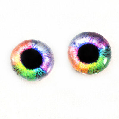 10mm Colorful Rainbow Fantasy Glass Eyes for Jewelry Art Dolls Sculptures Craft