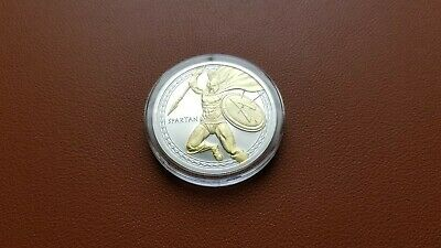 Spartan Warrior 1 Oz Silver 24K Gold Guilded In Capsule Molan Labe