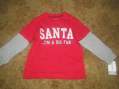 Boys Carter's NWT Santa I'm A Big Fan long sleeve red and gray shirt size 2T