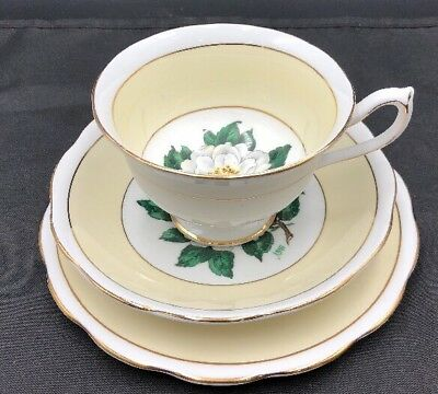 "Royal Albert Artist Signed A. Wagg ""Lady Clare"" Gardenia Flower Cup/Saucer/Bread"