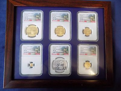 2017 China Gold Panda 6 Coins Early Release Ngc Ms 70 Complete  Wall Lbl Pop 1