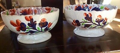 2 Antique Gaudy Welch Serving/Punch Bowls, Circa 1830, Hand Painted