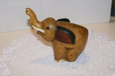 "Vintage Carved Solid Wood Elephant 7""X7""X 2"" HAND PAINTED"