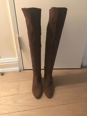 d2107061847 VALENTINO SUEDE OVER The Knee Boots 36.5 Brown Stretchy -  150.00 ...