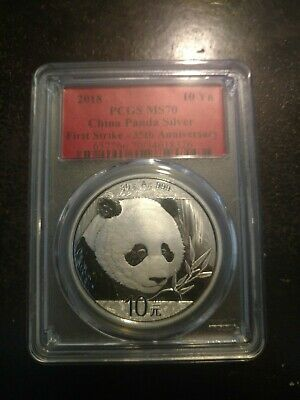 2018 10 Yuan China Silver Panda Coin 30 Gram .999 Silver PCGS MS70 First Strike