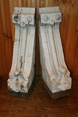 "Incredible Pair of Large Antique Wood Corbels - 29"" tall - ORIGINAL FROM 1800's"