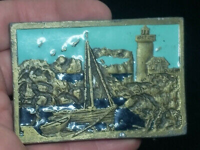 Very Rare Vintage Nautical Scene Belt Buckle Amazing Piece Free Ship!!!