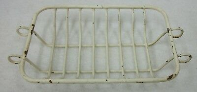 Vintage Antique White Metal Wire Basket Soap Dish Holder Bath or Laundry