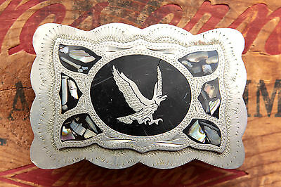 Vintage Hand Made Abalone Inlay Flying Eagle Western Belt Buckle