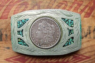 Vintage Hand Made Silver Morgan Dollar 1981 Turquoise Inlay Western Belt Buckle