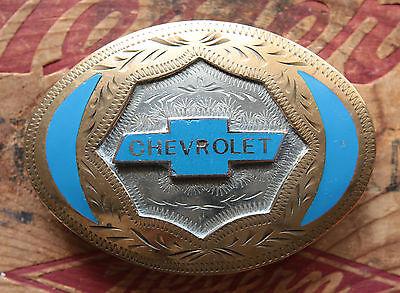 Vintage Western Flair German Silver Hand Made CHEVROLET Inlay Belt Buckle