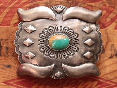 Hand Made Sterling Silver Turquoise Western Belt Buckle