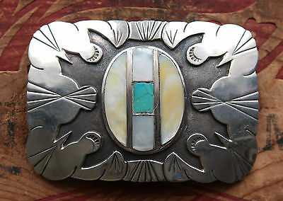 Vintage Sterling Silver Turquoise Abalone Native American Western Belt Buckle
