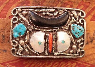 Vtg Hand Made Sterling Silver Turquoise Coral Mother of Pearl Owl Belt Buckle