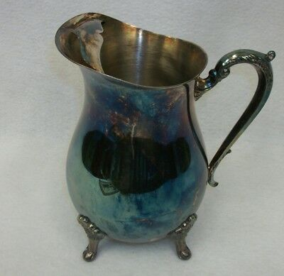 Vintage Leonard Silver Plated 4 Footed Large Pitcher with Ice Lip