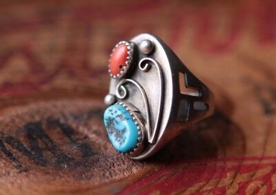 Vintage Hand made Sterling Silver Turquoise Coral Ring 9.8 g Size 8.75