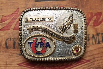 Vtg Gist Sterling Silver Overlay TYRA Year End Cowgirl Trophy Belt Buckle