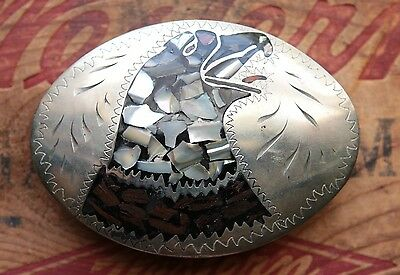 Vintage Little White Dove Hand Made Eagle Head Abalone Inlay Western Belt Buckle