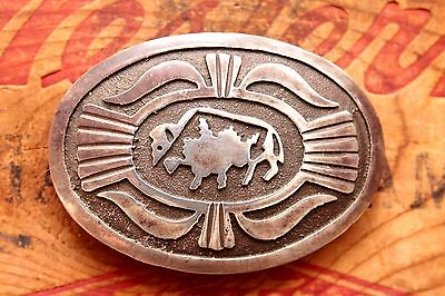 Vintage Hand Made Sterling Silver Native American Style Belt Buckle