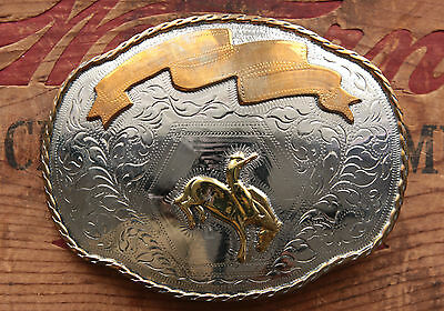 Vintage Crown Silver Hand Made Cowboy Rodeo Horse Western Belt Buckle