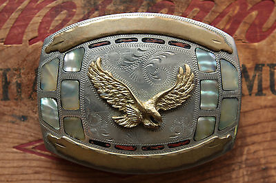 Vtg Johnson Held Hand Made Flying Eagle Abalone Coral Inlay Western Belt Buckle