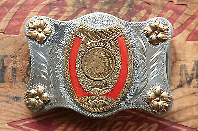 Vintage Hand Made Horseshoe Indian Chief Penny Western Belt Buckle