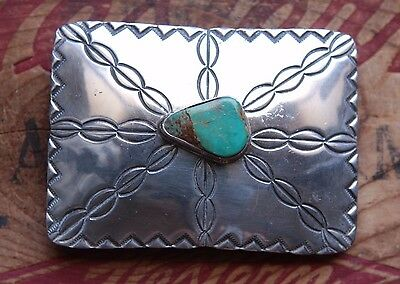 Vintage Hand Made J. Nelson Native American Turquoise Western Belt Buckle