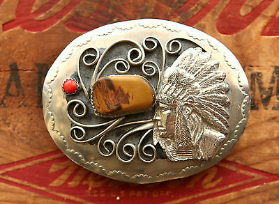 Vintage Hand Made Indian Chief Coral Tiger Eye Western Belt Buckle
