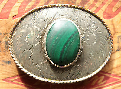 Vtg Comstock German Silver Hand Engraved Malachite Stone Western Belt Buckle