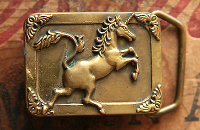 "Vintage Baron Small Solid Brass Unicorn Belt Buckle for 1"" belt"