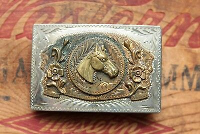 Vintage Hand Made Horse Head Flowers Rodeo Cowboy Cowgirl Western Belt Buckle