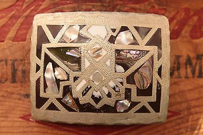 Vintage Hand Made Abalone Inlay Thunderbird Western Belt Buckle