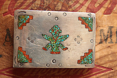 Vintage Sterling Silver Turquoise Coral Native American Katchina Belt Buckle