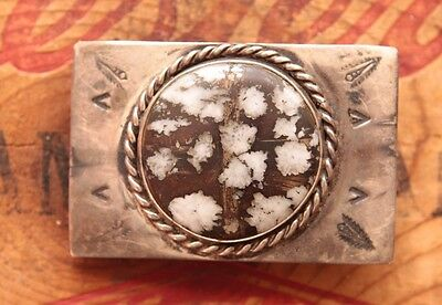 Vtg Small Hand Made Mohawkite Stone Sterling Silver Western Belt Buckle