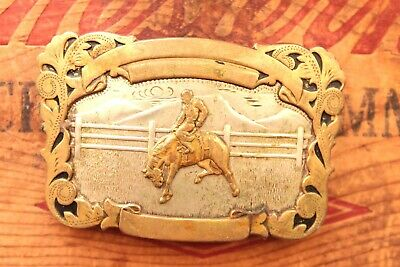 Vintage Comstock German Silver Hand Made Cowboy Horse Rodeo Western Belt Buckle