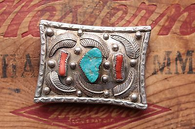 Vintage Sterling Silver Hand Native American Turquoise Coral Belt Buckle