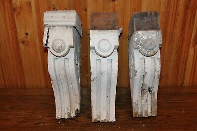 "VINTAGE SET OF 3 ORIGINAL WOOD CORBELS - 15"" TALL - FROM 1800's"