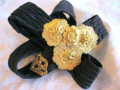 Antique Edwardian Black Satin Pleated V Belt W Gilt Gold Brass Floral Buckle