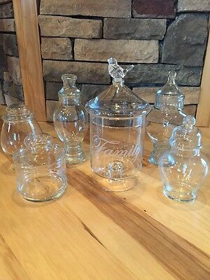 Vintage Apothecary Jars Clear Glass Wedding Buffet Candy Pharmacy Counter LOT 7