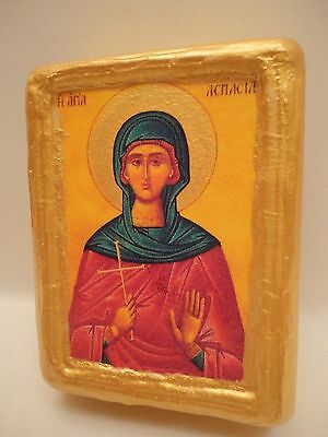 Saint Aspasia Santa Aspasia Greek Eastern Orthodox Religious Icon on Wood