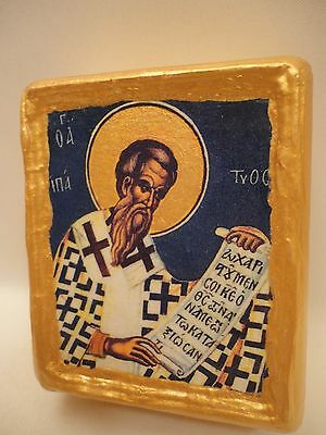 Saint Hypatius Hypatios Greek Eastern Orthodox Religious Icon art on Wood Block