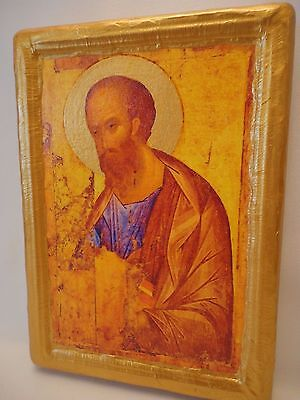 Saint Paul Pavlos Apostle Byzantine Orthodox Russian Religious Icon on Real Wood